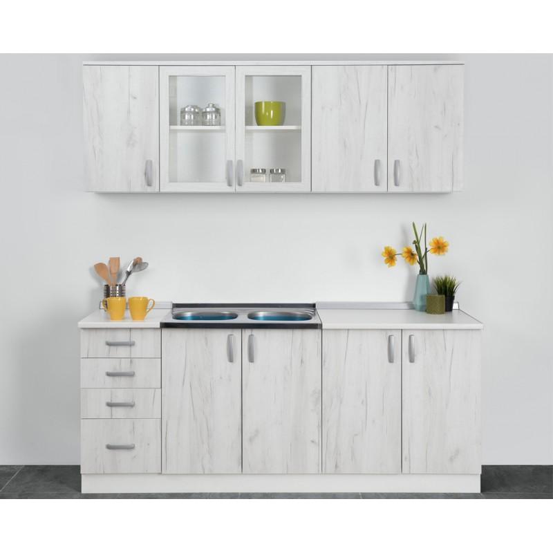 """Κουζίνα """"STANDARD"""" σετ 6τμχ σε λευκό δρυς χρώμα 200x85/68x60/30"""