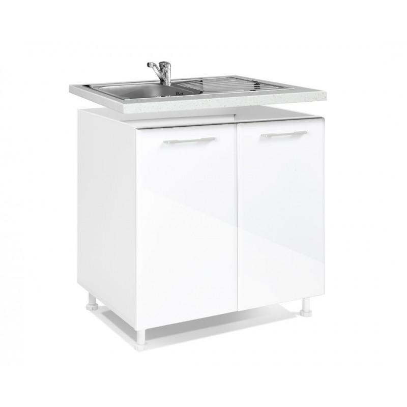 "Nτουλάπι νεροχύτη ""MDF"" σε λευκό γυαλιστερό χρώμα 80x60x85"