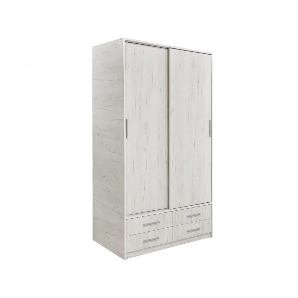 """Ντουλάπα """"ZEUS"""" δίφυλλη σε χρώμα λευκό δρυς 118x61x203"""