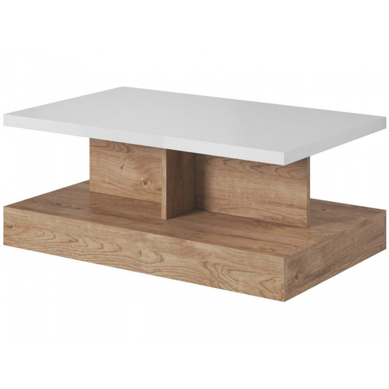 "Tραπέζι σαλονιού ""STANDON"" σε λευκό-φυσικό χρώμα 110x65x46"
