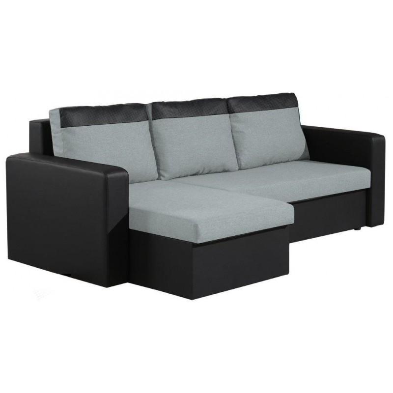 """Τριθέσιος γωνιακός καναπές-κρεβάτι """"SOLARIS"""" από ύφασμα και δερματίνη σε γκρι-μαύρο χρώμα 225x140x85"""