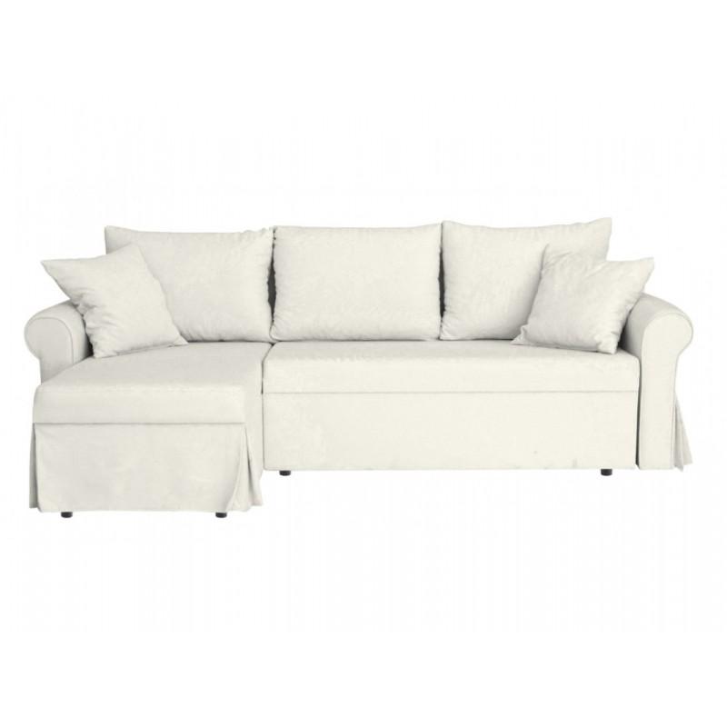 """Τριθέσιος γωνιακός καναπές-κρεβάτι """"POLIPACO"""" από ύφασμα σε μπεζ χρώμα 234x140x88"""