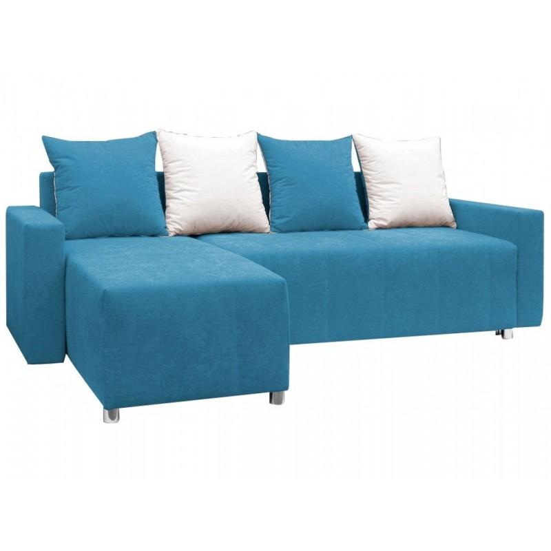 """Γωνιακός καναπές-κρεβάτι """"ODETTE"""" από ύφασμα σε γαλάζιο χρώμα 222x145x85"""