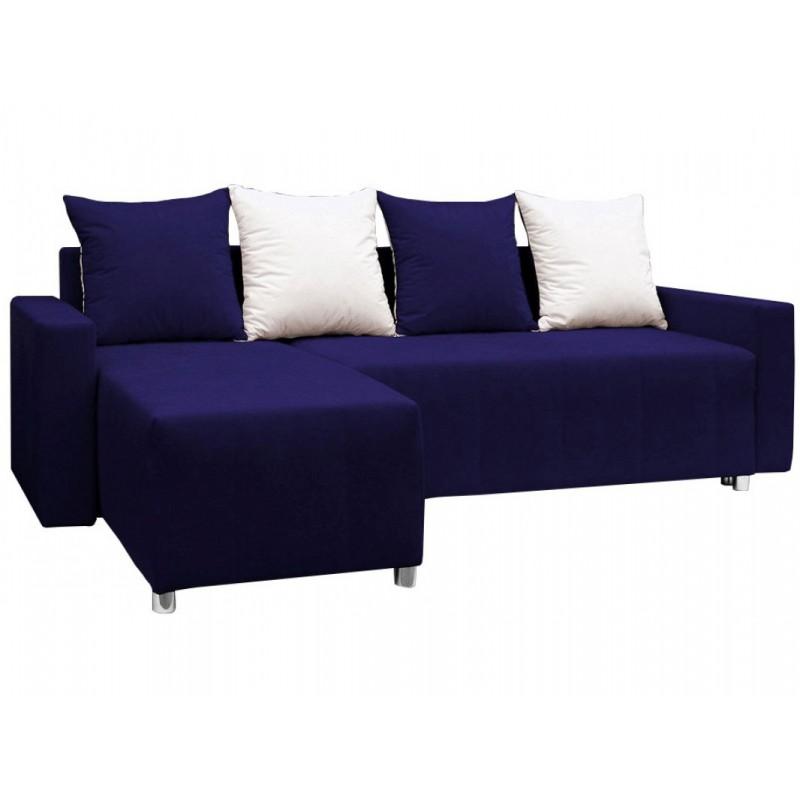 """Γωνιακός καναπές-κρεβάτι """"ODETTE"""" από ύφασμα σε μπλε χρώμα 222x145x85"""