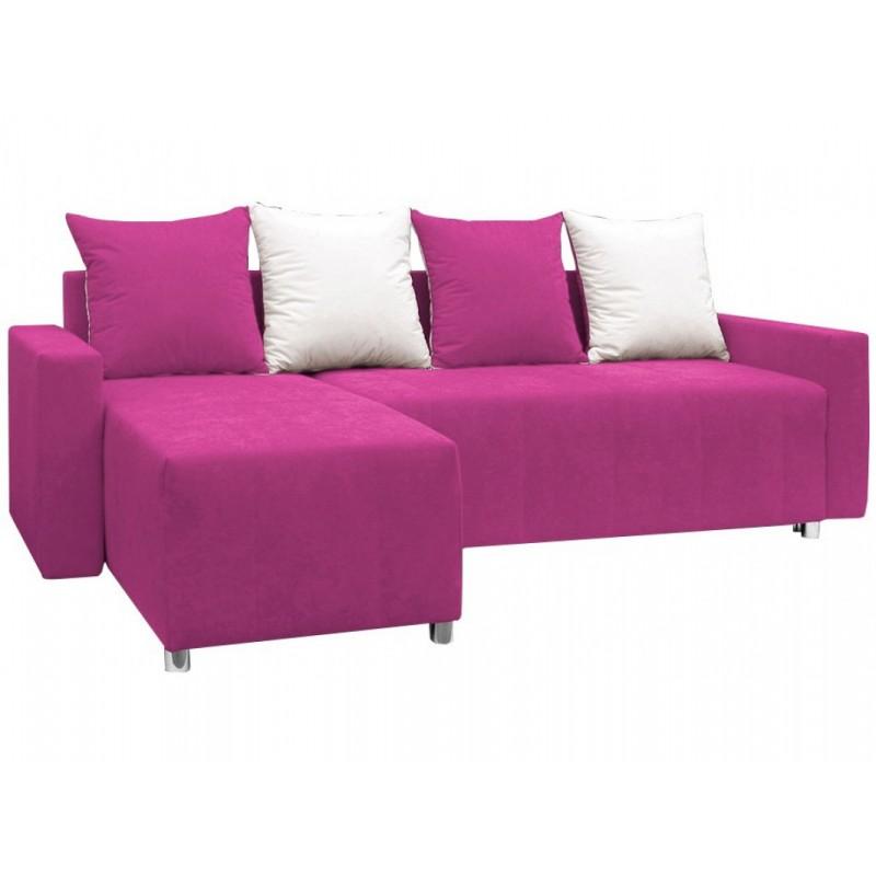 """Γωνιακός καναπές-κρεβάτι """"ODETTE"""" από ύφασμα σε ροζ χρώμα 222x145x85"""