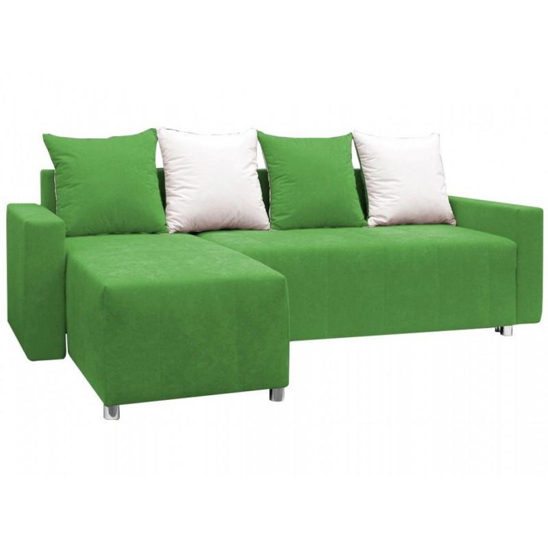 """Γωνιακός καναπές-κρεβάτι """"ODETTE"""" από ύφασμα σε πράσινο χρώμα 222x145x85"""