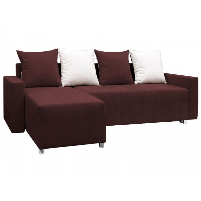"""Γωνιακός καναπές-κρεβάτι """"ODETTE"""" από ύφασμα σε σκούρο καφέ χρώμα 222x145x85"""