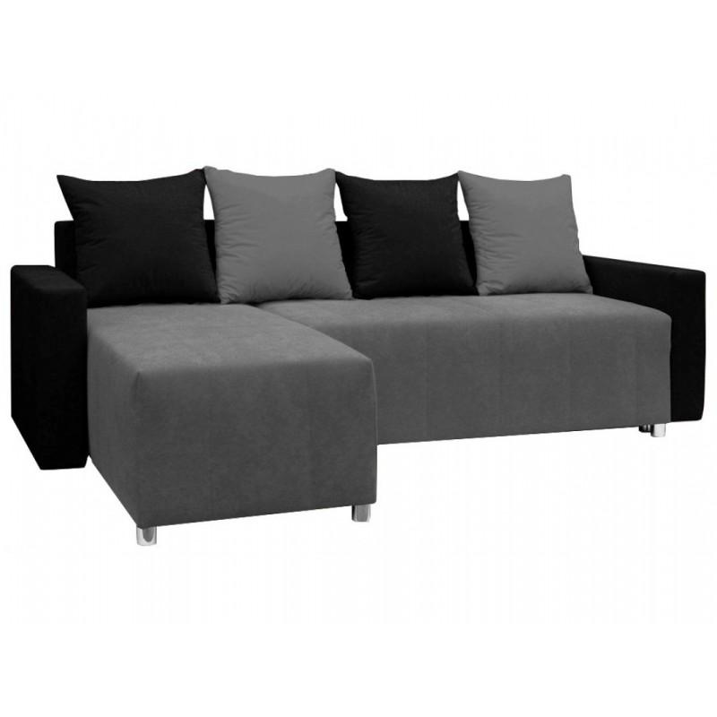 """Γωνιακός καναπές-κρεβάτι """"ODETTE"""" από ύφασμα σε γκρι-μαύρο χρώμα 222x145x85"""