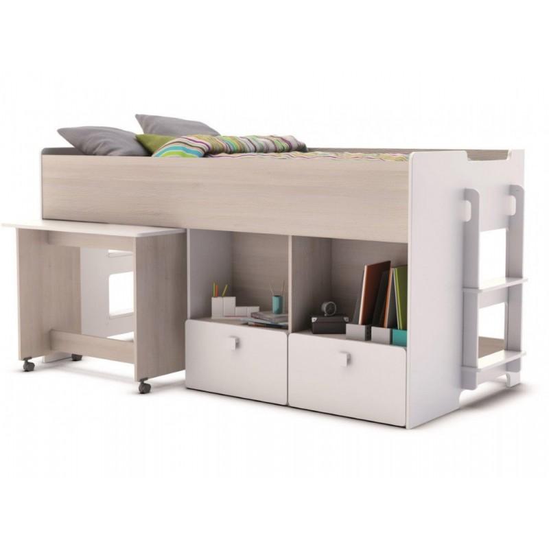"""Κουκέτα χαμηλή """"TOY"""" με γραφείο από mdf σε λευκό χρώμα 93x204,5x98x5"""