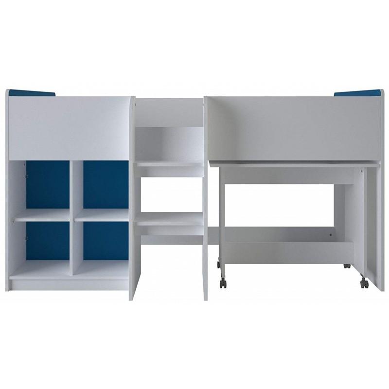 """Κουκέτα με τροχήλατο γραφείο """"SHUFFLE"""" από mdf σε λευκό χρώμα 194x108,2x104"""
