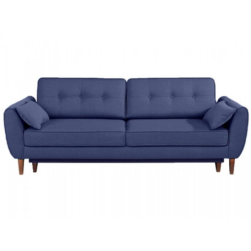 "Tριθέσιος καναπές-κρεβάτι ""CANDELA"" από ύφασμα σε μπλε χρώμα 237x94x86"