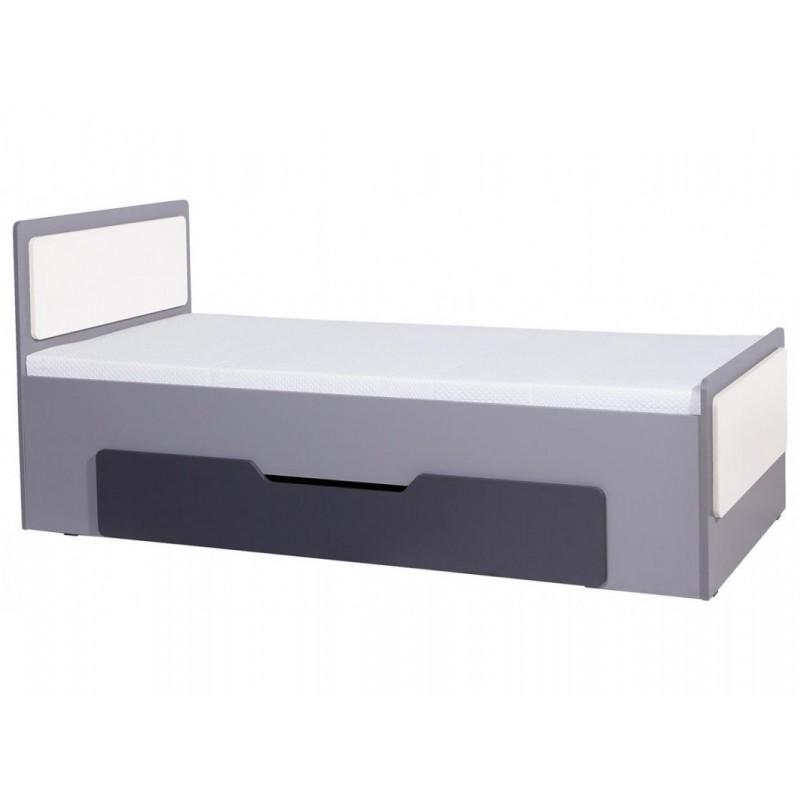 """Παιδικό κρεβάτι """"LIDO"""" με συρτάρι αποθήκευσης σε γκρι-λευκό χρώμα 90x200"""