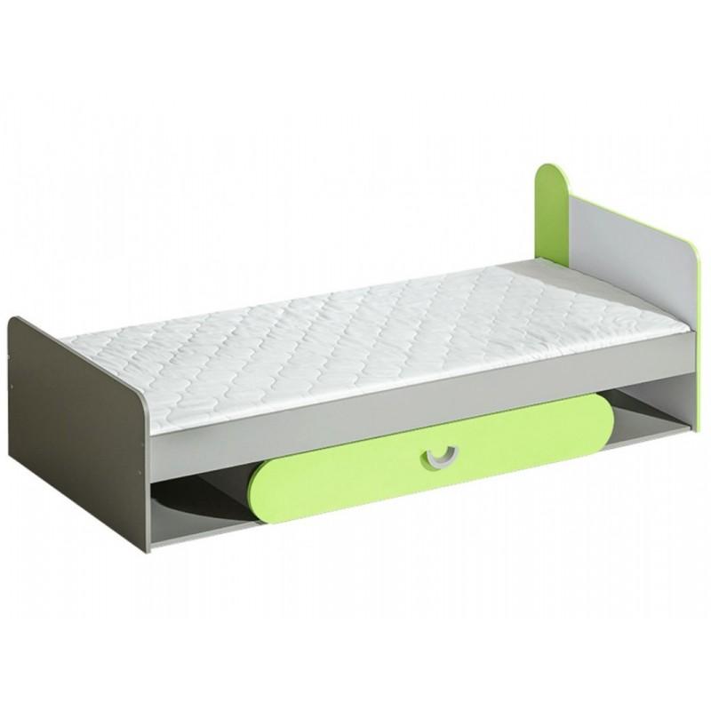 """Παιδικό κρεβάτι """"FUTURO"""" με αποθηκευτικό χώρο σε λευκό-γκρι-πράσινο χρώμα 85x198x70"""
