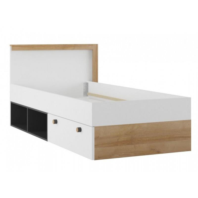 """Παιδικό κρεβάτι """"ROBERTA"""" με αποθηκευτικό συρτάρι σε λευκό-φυσικό-μαύρο χρώμα 105x205x90"""