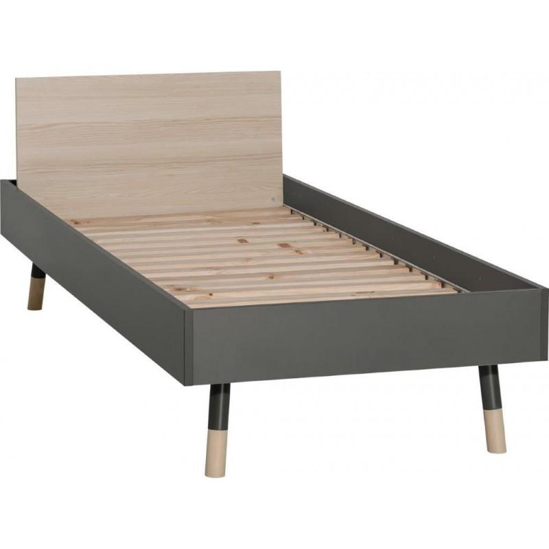 """Kρεβάτι μονό """"LORI"""" σε χρώμα γραφίτη-φυσικό 95x224,5x78"""