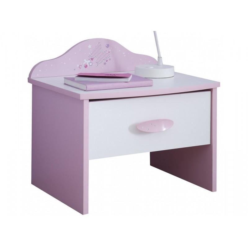 """Παιδικό κομοδίνο """"VALENTINA"""" σε ροζ-λευκό χρώμα 45x36x43"""