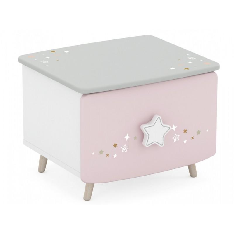 """Παιδικό κομοδίνο """"LIANA"""" σε ροζ-γκρι-λευκό χρώμα 44,5x39x34"""