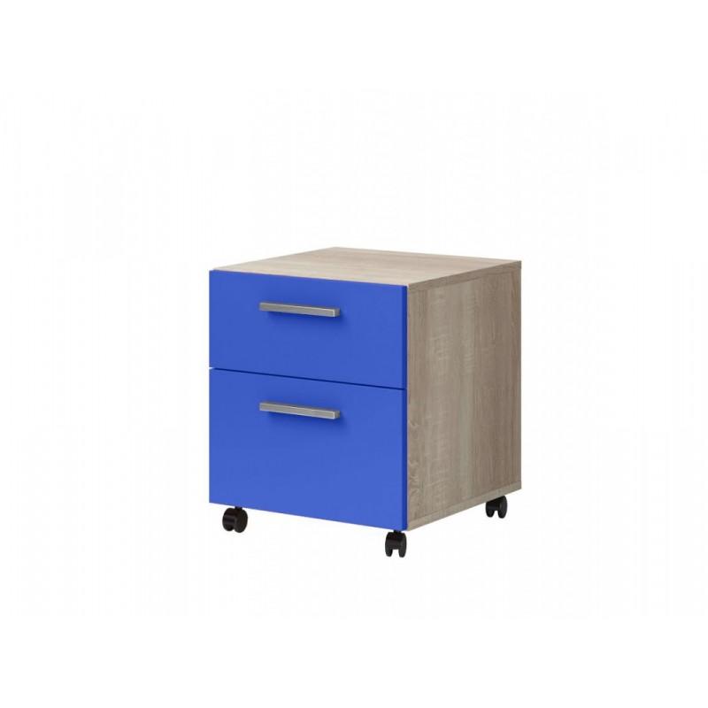 """Παιδικό κομοδίνο """"ΧΑΡΑ"""" σε μπλε-φυσικό χρώμα 40x41,6x46"""