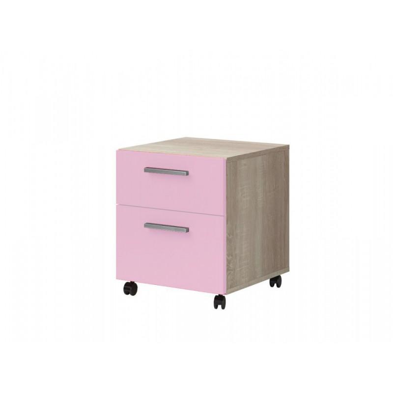 """Παιδικό κομοδίνο """"ΧΑΡΑ"""" σε ροζ-φυσικό χρώμα 40x41,6x46"""