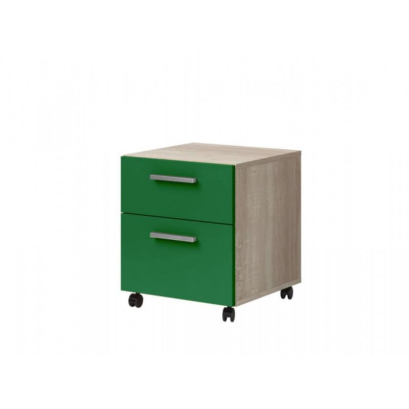 """Παιδικό κομοδίνο """"ΧΑΡΑ"""" σε πράσινο-φυσικό χρώμα 40x41,6x46"""