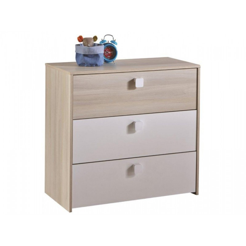 """Παιδική συρταριέρα """"TOM"""" με 3 συρτάρια σε φυσικό-λευκό χρώμα 83x40x78"""