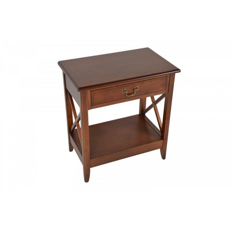 Τραπεζάκι βοηθητικό από μασίφ ξύλο σε χρώμα καρυδί 60x37x65