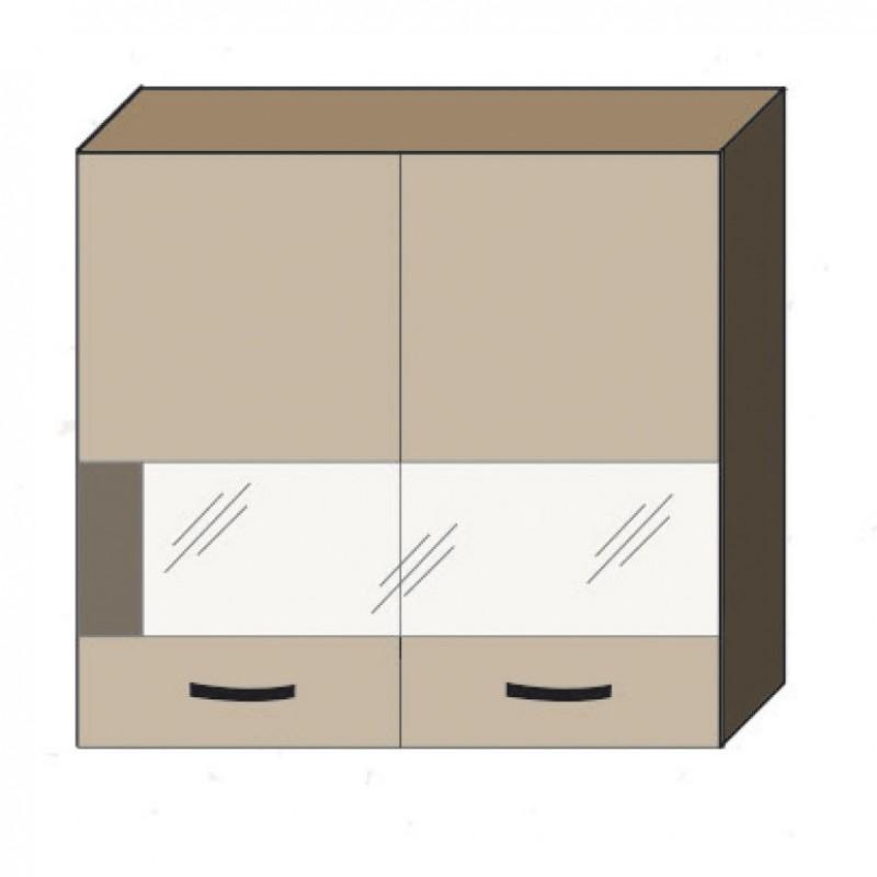 """Πάνω ντουλάπι κουζίνας """"ALINA"""" με τζάμι σε χρώμα σονόμα-μόκα 80x30,5x71,8"""