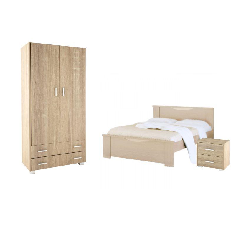 Σετ υπνοδωμάτιο 3τμχ ντουλάπα-κρεβάτι-κομοδίνο