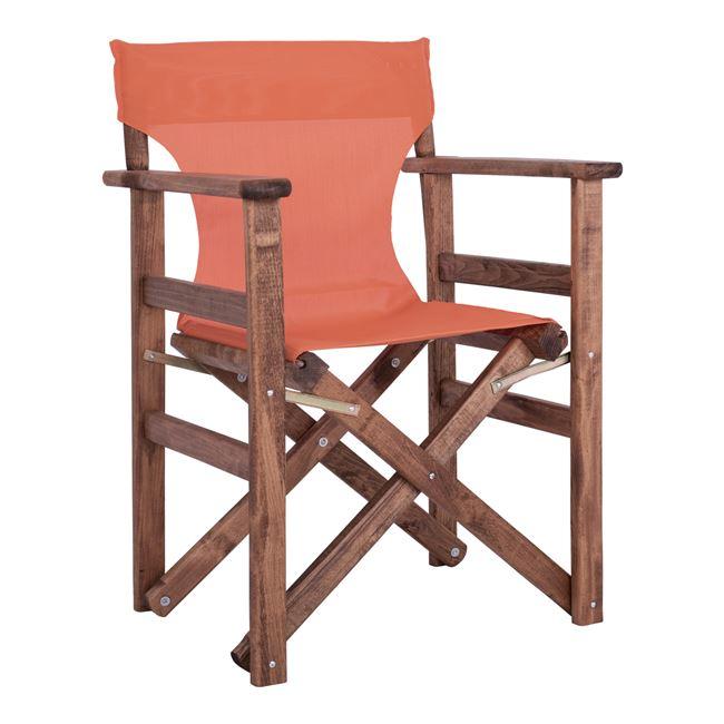 Πολυθρόνα σκηνοθέτη από ξύλο/ύφασμα σε χρώμα καρυδί/πορτοκαλί 60x51x86