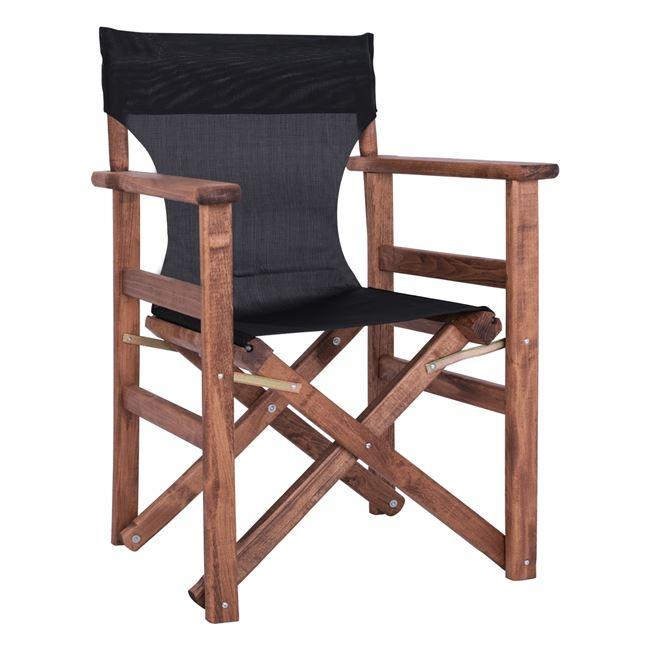 Πολυθρόνα σκηνοθέτη από ξύλο/ύφασμα σε χρώμα καρυδί/μαύρο 60x51x86