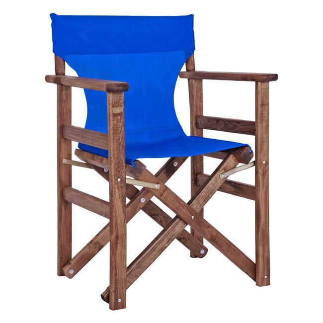 Πολυθρόνα σκηνοθέτη από ξύλο/ύφασμα σε χρώμα μπλε 60x51x86