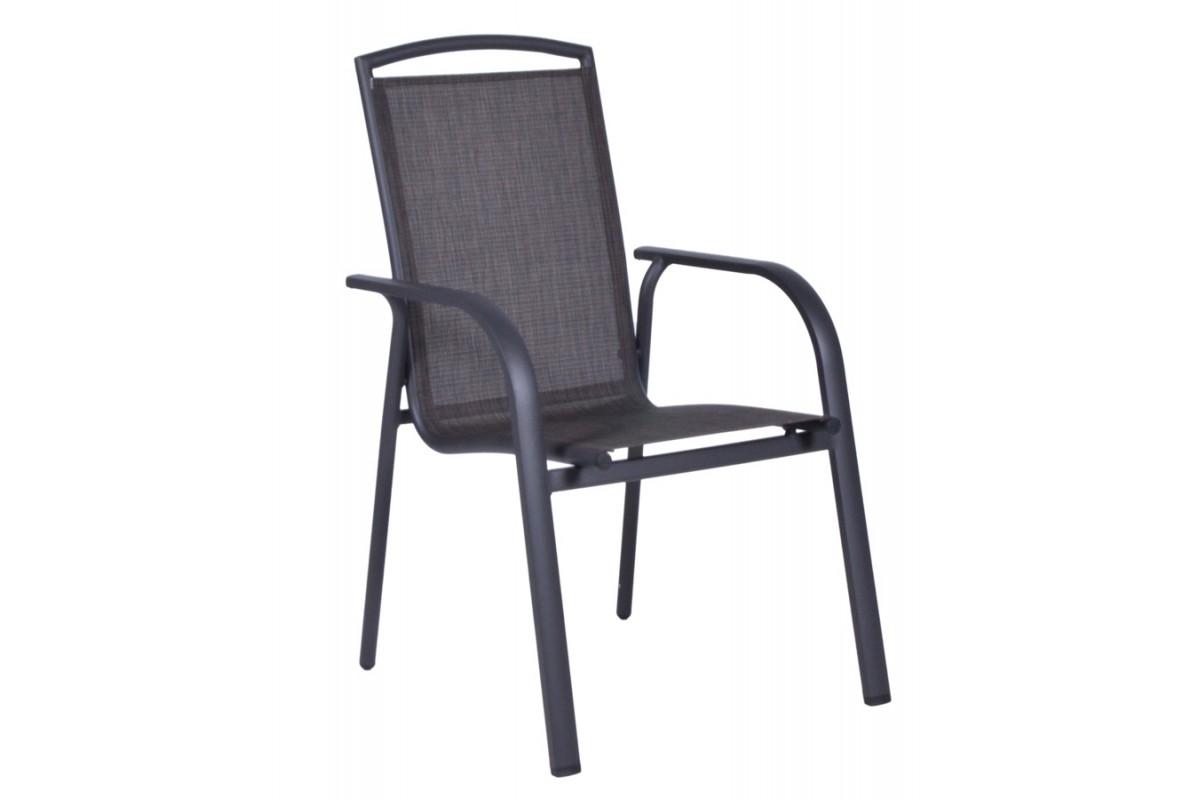 """Πολυθρόνα """"MELINA"""" αλουμινίου με textilene σε χρώμα γκρι 58x64x95"""