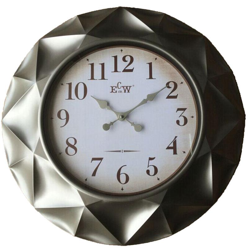 Πλαστικό ρολόι τοίχου σε χρώμα ασημί/κασσίτερου με λευκό καντράν Φ61