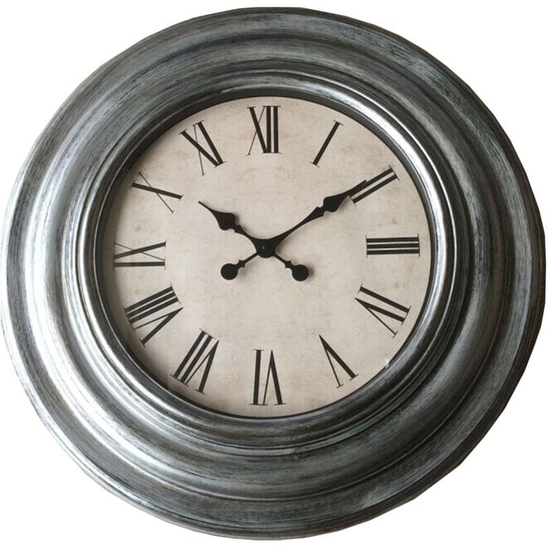 Πλαστικό ρολόι τοίχου σε χρώμα ασημί/κασσίτερου με λευκό καντράν Φ76