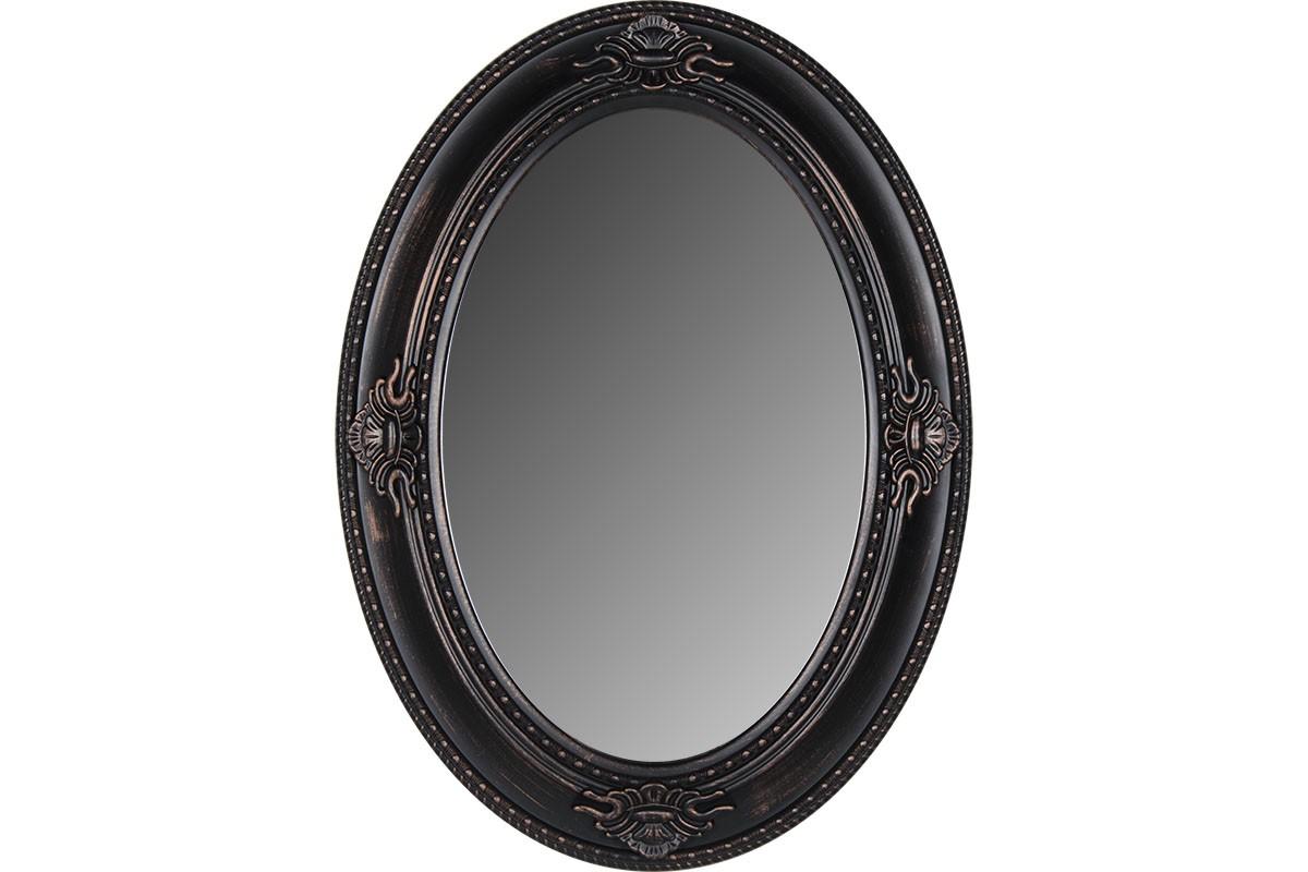 Οβάλ πλαστικός καθρέπτης σε χρώμα μαύρο-μπρονζέ 76×56