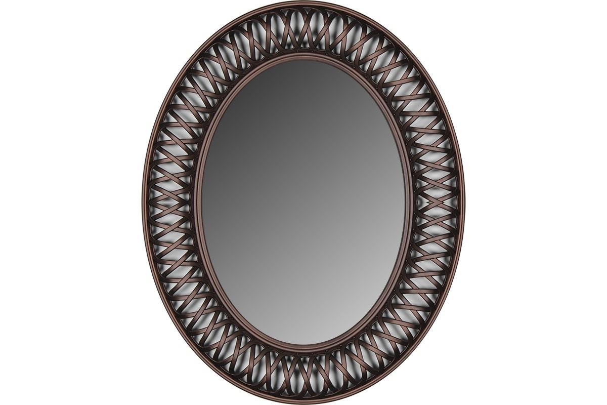 Οβάλ πλαστικός καθρέπτης σε χρώμα μπρονζέ 76×61
