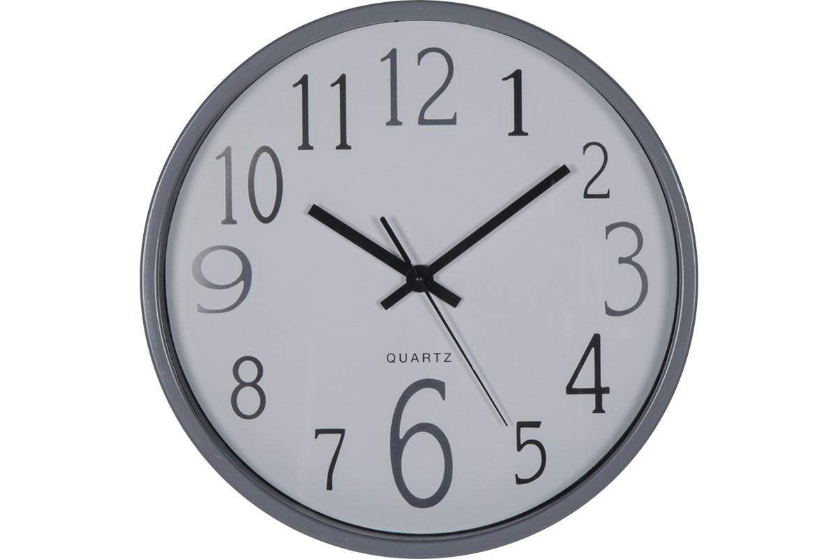 """Ρολόι τοίχου """"MINIMAL"""" πλαστικό σε γκρι χρώμα Φ30×5"""