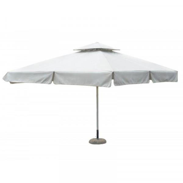 Ομπρέλα τετράγωνη 4×4 μέτρα αλουμινίου επαγγελματική με αδιάβροχο ύφασμα σε εκρού χρώμα