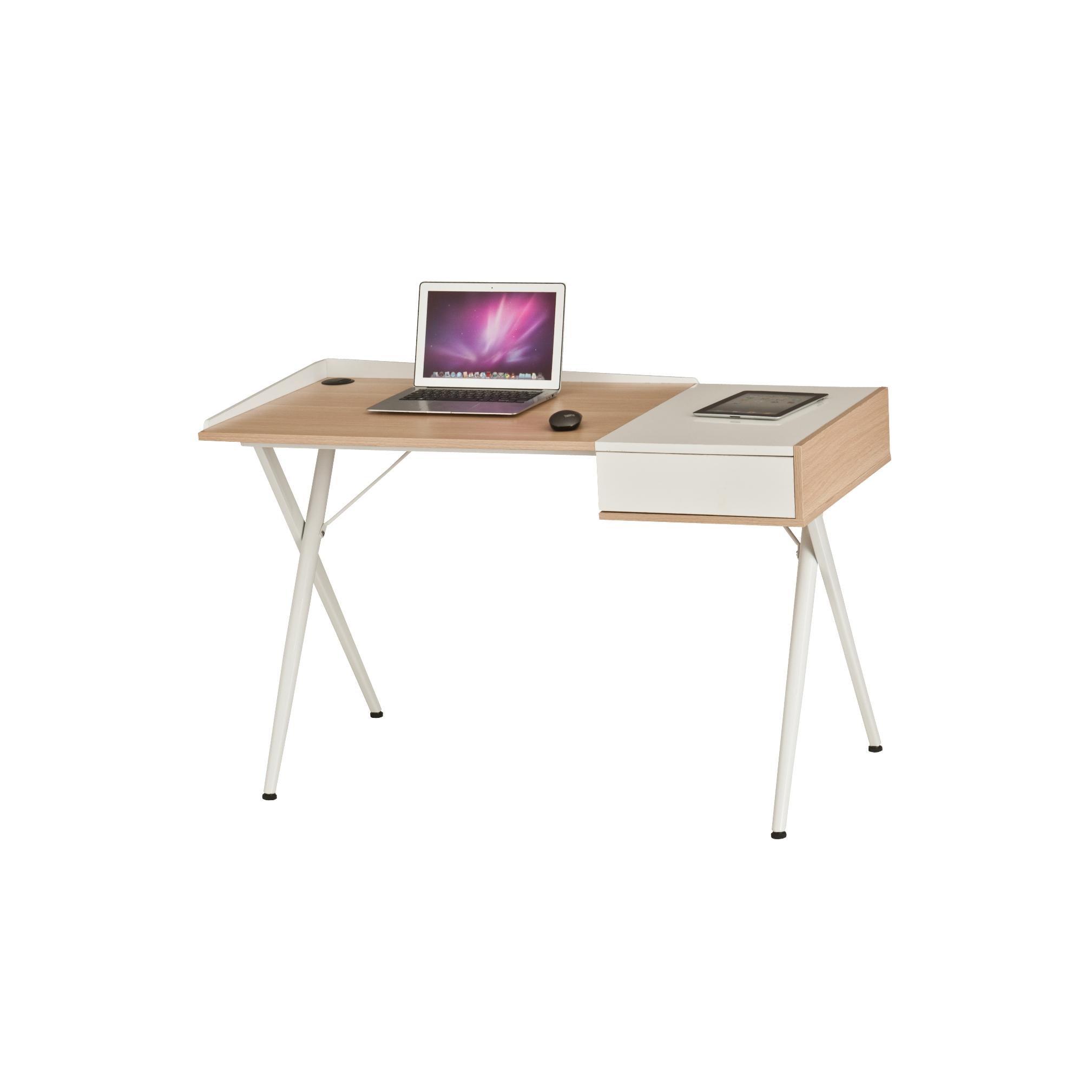 Γραφείο εργασίας σε χρώμα λευκό-δρυς 125x60x79