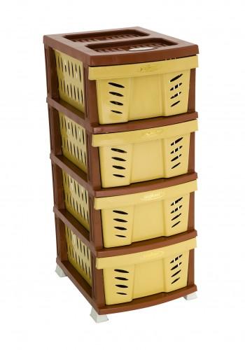 Συρταριέρα αποθήκευσης σε χρώμα μπεζ/καφέ 38x47x92