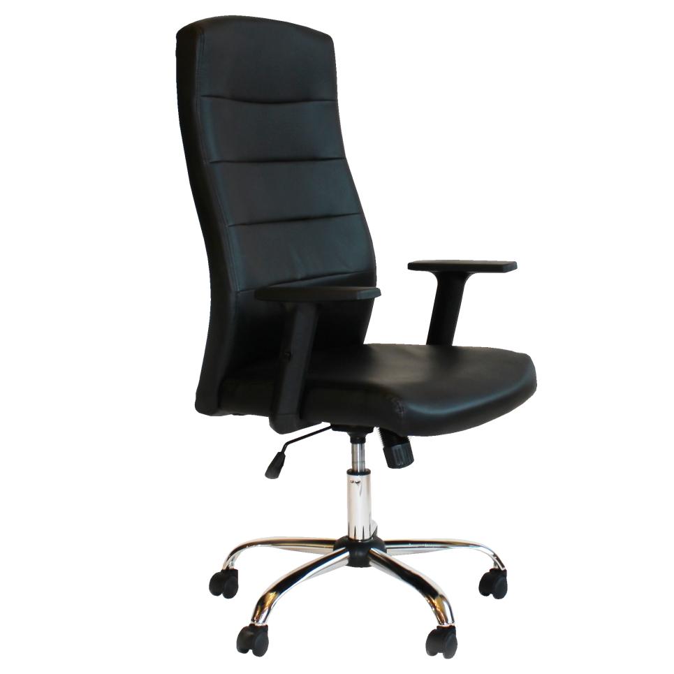 """Πολυθρόνα διευθυντή """"ELEGANCE"""" από τεχνόδερμα σε μαύρο χρώμα 63x70x115/125"""