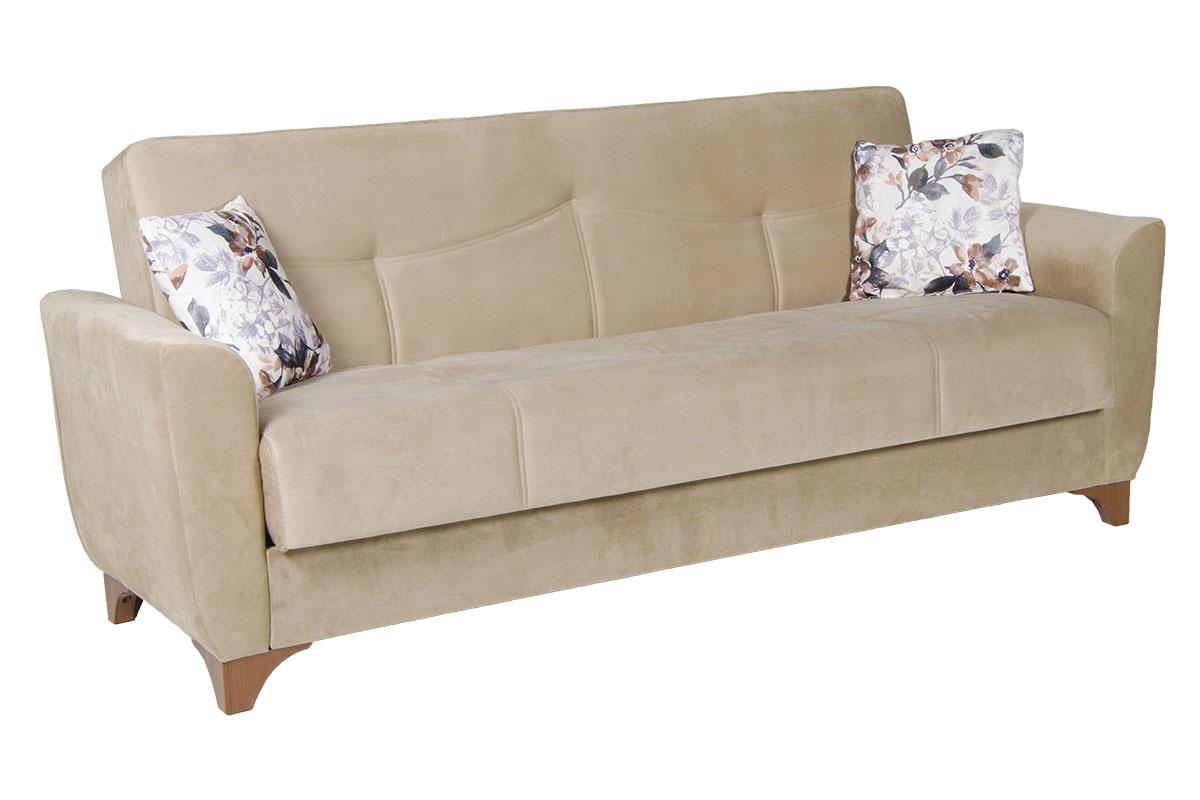 """Καναπές-κρεβάτι τριθέσιος """"FLORIDA"""" υφασμάτινος σε χρώμα μπεζ-καφε 216x81x92"""