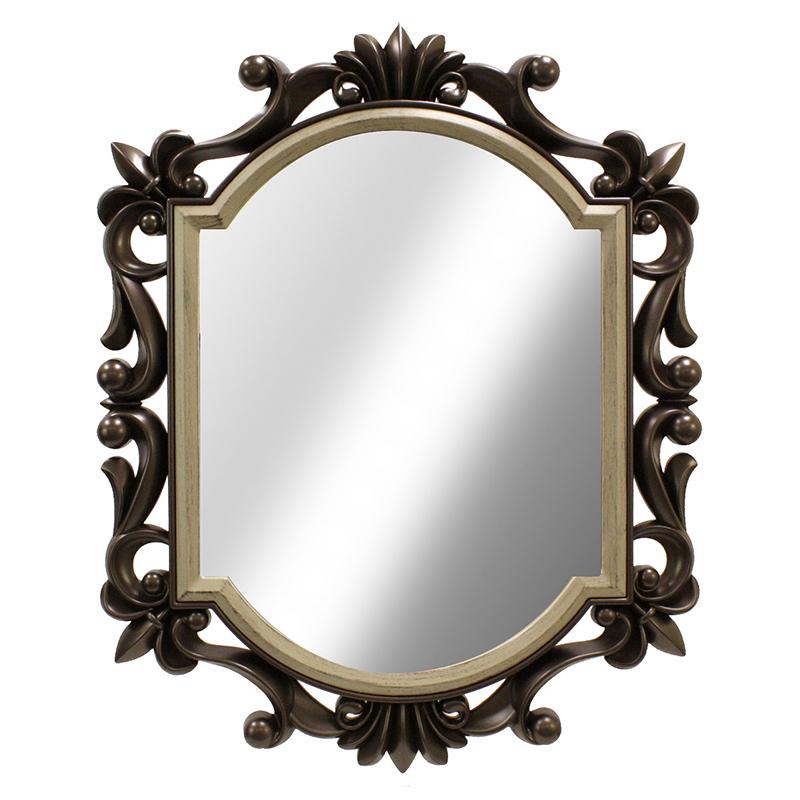 Καθρέφτης τοίχου με πλαστική κορνίζα σε χρώμα antique brown 75×60εκ.