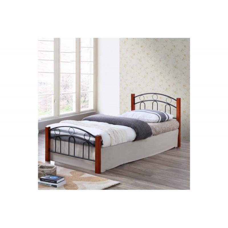 """Κρεβάτι ημιδιπλό """"LOUISA"""" από μέταλλο/ξύλο σε χρώμα καφέ/μαύρο 110×190"""
