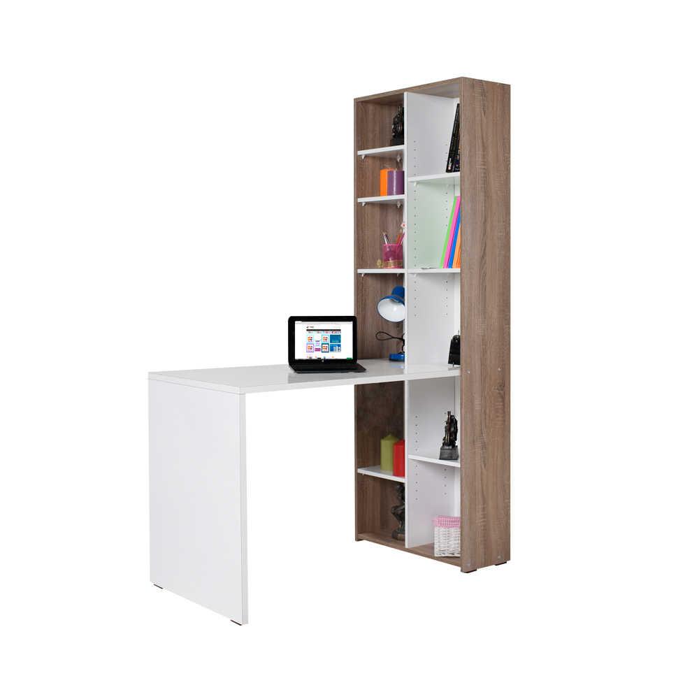 Γραφείο εργασίας με βιβλιοθήκη σε χρώμα λευκό high gloss 121x63x182