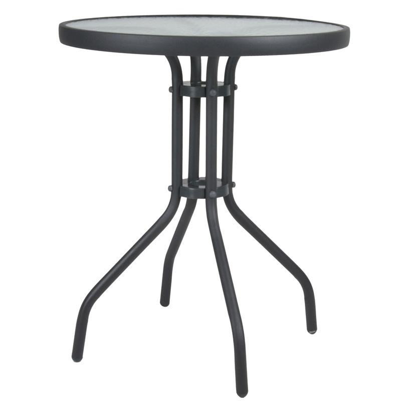 """Τραπέζι """"LIMA NEW"""" από μέταλλο/γυαλί σε χρώμα ανθρακί Φ60×70"""