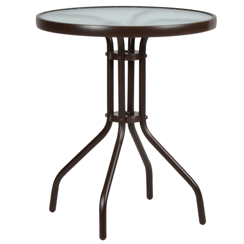 """Τραπέζι """"LIMA NEW"""" από μέταλλο/γυαλί σε χρώμα καφέ Φ60×70"""