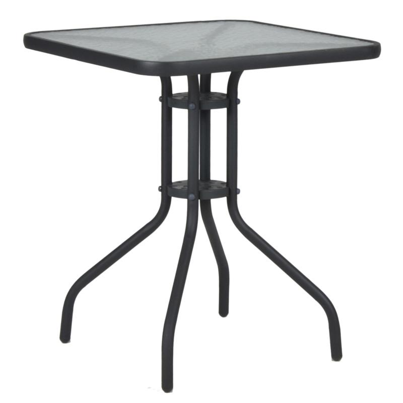 """Τραπέζι """"PALMAS NEW"""" μεταλλικό σε χρώμα ανθρακί 70x70x71"""