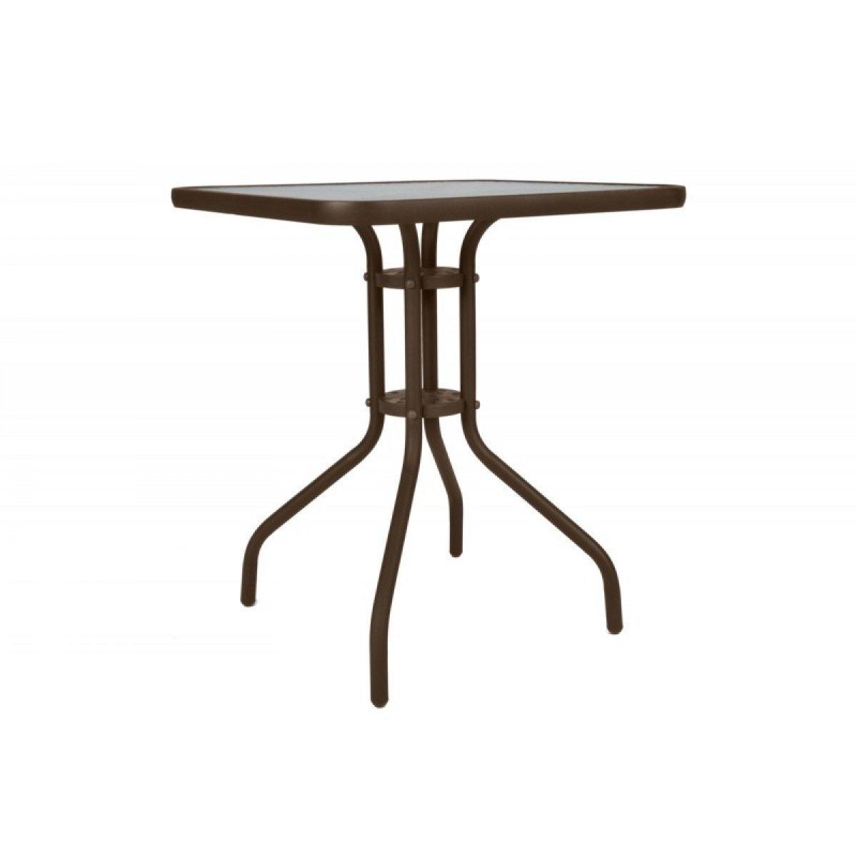 """Τραπέζι """"PALMAS NEW"""" μεταλλικό σε χρώμα καφέ 70x70x71"""