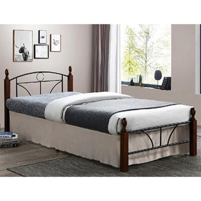 """Κρεβάτι """"ROMINA"""" ημίδιπλο μεταλλικό σε μαύρο ματ χρώμα 110×190"""